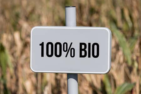 A sign indicates organic cultivation Banco de Imagens