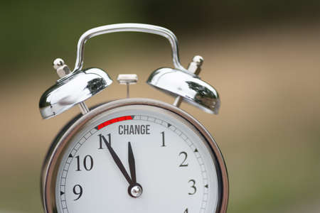 An alarm clock and the word change
