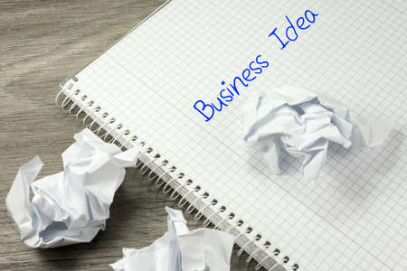 A booklet with the slogan business idea and crumpled paper