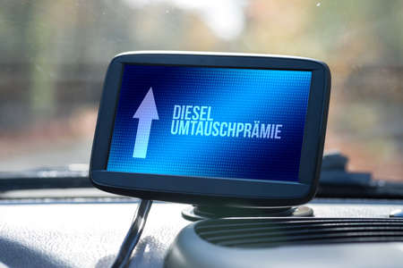 Navigation in the car shows the direction to diesel exchange premium