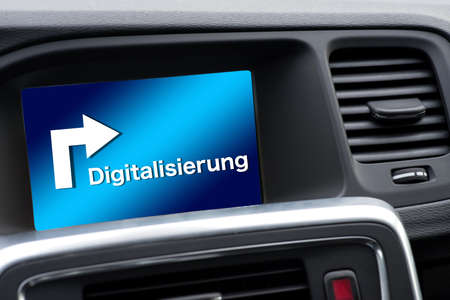 GPS navigation in the car points in the direction of digitization