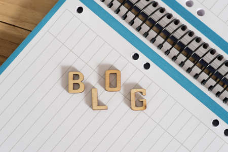 A notepad and the word blog