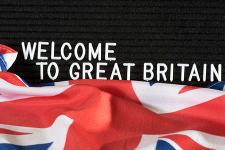 British flag and slogan Welcome to the UK
