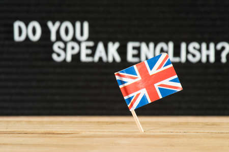 Flag of Great Britain and question Do you speak English