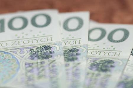 Close-up of Polish zloty PLN banknote