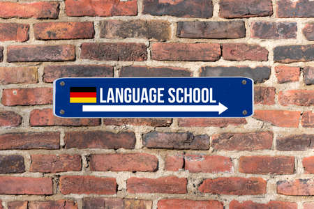 A sign on the wall indicates the language school for German language