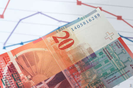 One banknotes Swiss francs CHF in front of a chart Imagens