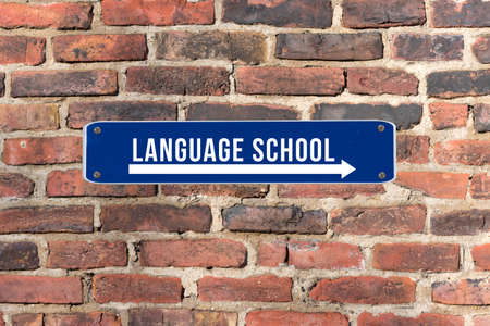 A sign on the wall indicates the language school