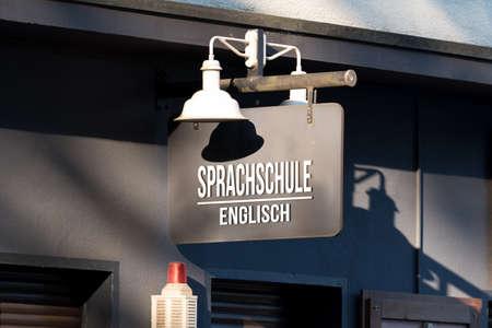 The entrance to a language school for English language Reklamní fotografie