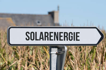 A sign indicates the solar energy