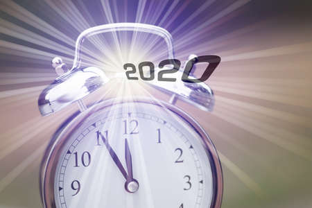 An alarm clock and a reference to the new year 2020