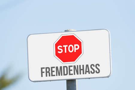 A sign Stop xenophobia Banco de Imagens