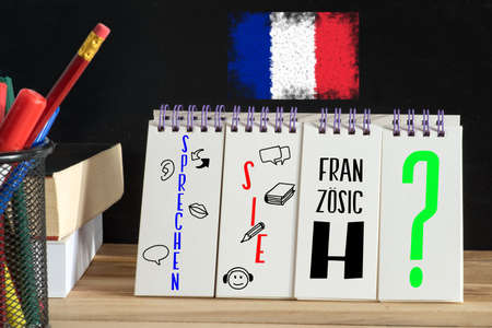 Flag of France, French course and question. Do you speak French