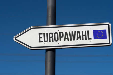 A directional arrow points to the European elections in the European Union