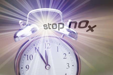 An alarm clock and call Stop NOx Nitrogen dioxide