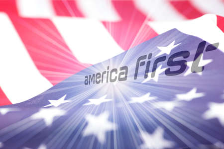 Flag of USA and slogan America First Reklamní fotografie