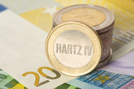 Euro banknotes and coins and social welfare Hartz 4 in Germany