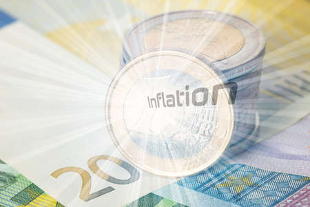 Euro notes and coins and inflation in Europe Stockfoto