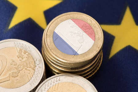 Flag of France and the European Union EU and Euro coins