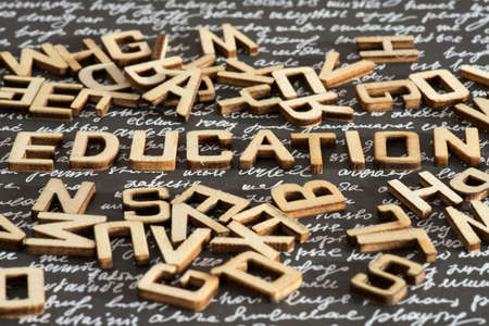 The word Education made of wooden letters