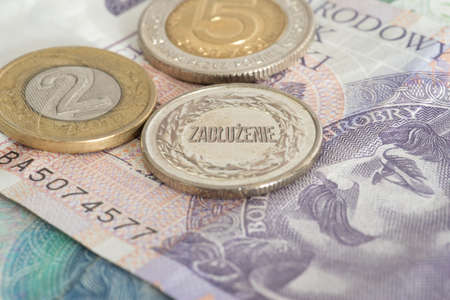 Banknotes and coins Polish zloty PLN and the debt in Poland