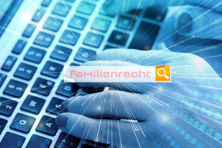 A woman searches the Internet for the term family law