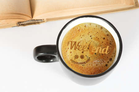 A book, a cup of coffee and the weekend Stock Photo