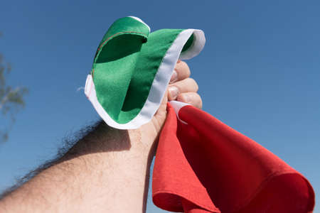 A man with the Italian national flag in his hand Standard-Bild