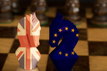 A chess game between Britain and EU at Brexit
