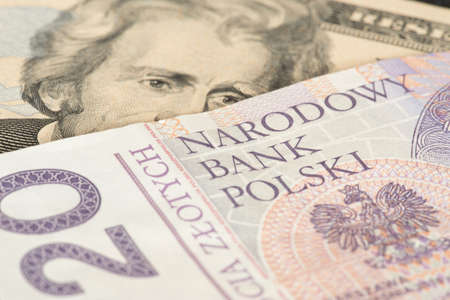 Banknotes Dollars and Polish zloty PLN