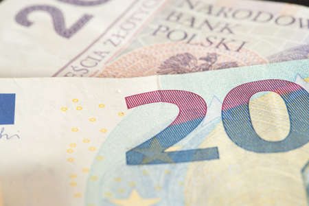 Banknotes Euro and Polish zloty PLN