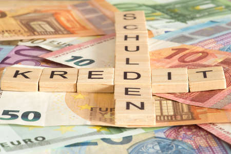 Euro banknotes, credit and debts
