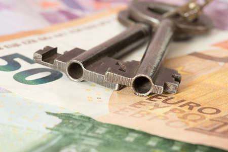 Euro bills and keys for an apartment