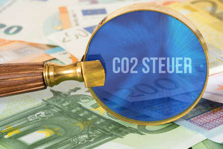 Co2 tax, Euro money and a magnifying glass