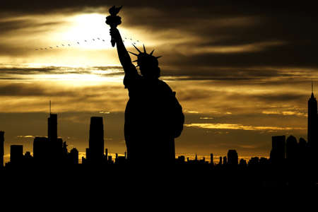 Statue of Liberty and panorama of New York