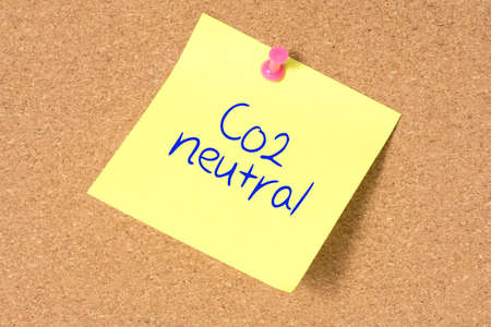 A note saying Co2 Neutral 版權商用圖片