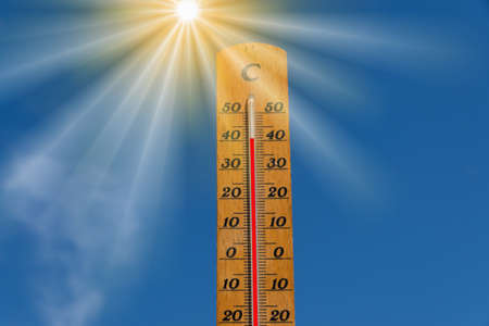 A thermometer shows high temperature during a heat wave