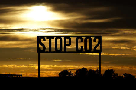 A landscape and slogan Stop Co2