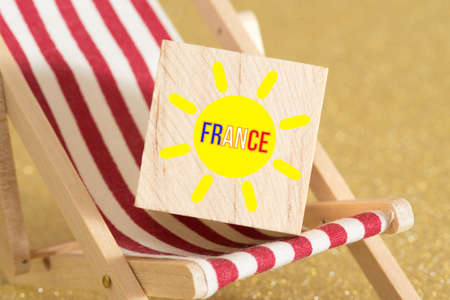 Deckchair, sun, beach and holidays in France Stockfoto
