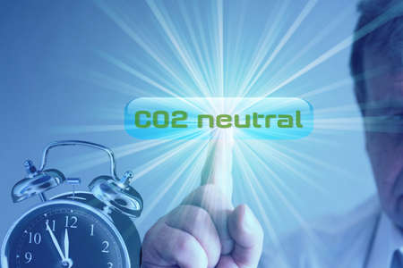 An alarm clock and call for Co2 neutrality 写真素材