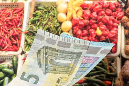 Euro bills and food Reklamní fotografie