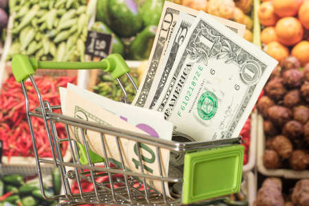 Shopping cart, dollar voucher and food