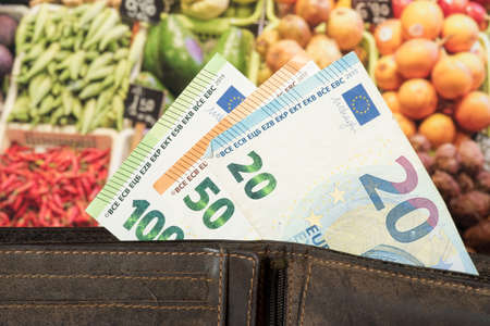 Wallet, Euro money and food prices Reklamní fotografie