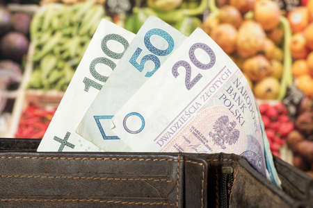 Purse, Polish zloty and food prices in Poland