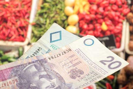 Polish zloty and food