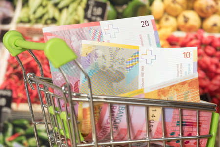 Shopping cart, Swiss Franc CHF and groceries