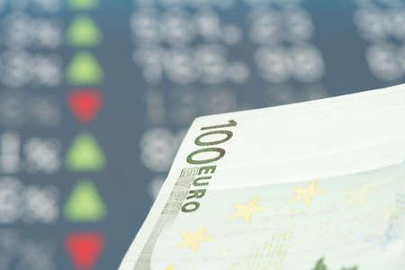 Euro money and exchange rate on the stock exchange