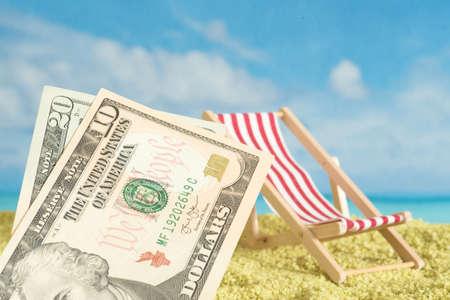 Dollar bills, vacation and beach