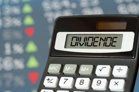 Stock market on the stock exchange and calculator for dividend Stock fotó
