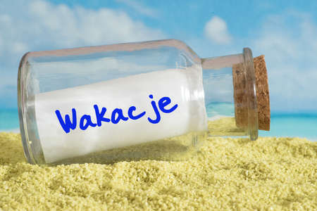 Beach, bottle mail and summer holidays in polish Banco de Imagens